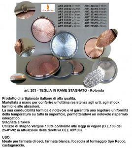 Vendita teglie rotonde in rame - La Bottega del Fuoco, provincia di Savona